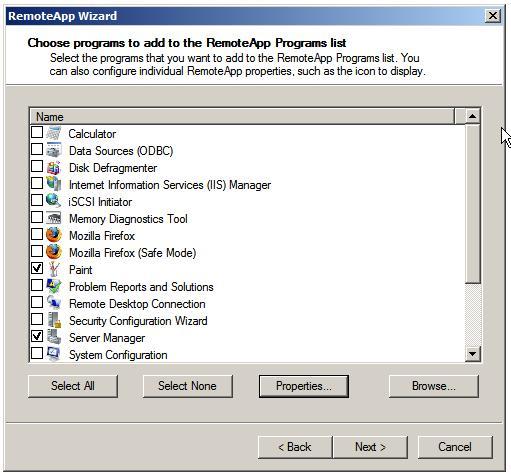 Мастер RemoteApp. Список установленных в  системе приложений