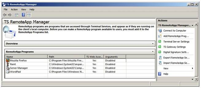 Список програм RemoteApp Programs