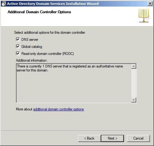 Выбор параметров контроллера домена