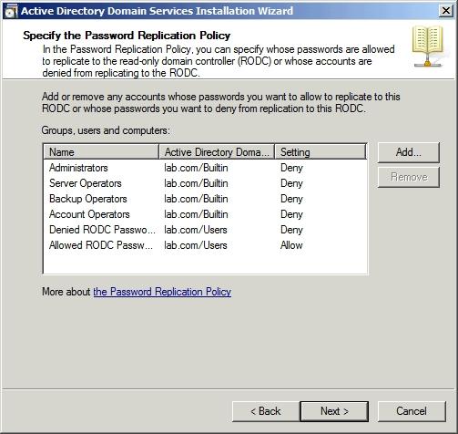 Указываем пароли каких учетных записей могут быть реплицированы на Read Only Domain Controller