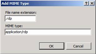 Добавить rdp в MIME Types