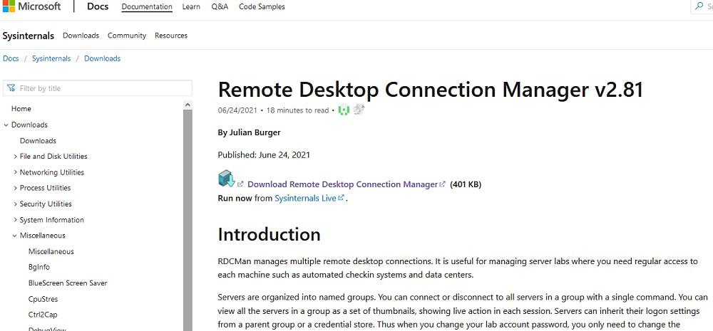 скачать новую версию Remote Desktop Connection Manager rdcman 2.81 от sysinternals