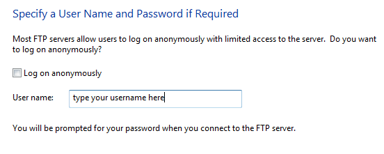 опис: як зіставити ftp-сайт у Windows 7