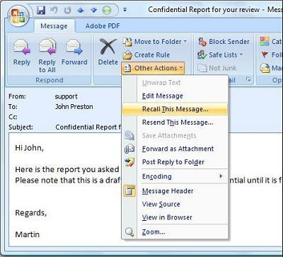 outlook 2007 recall message