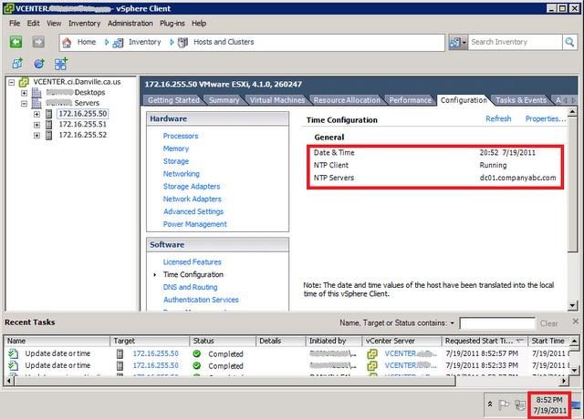 Синхронизации времени с доменом Windows в ESX