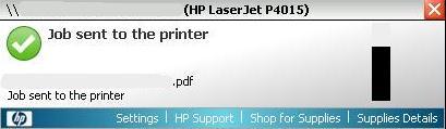 Всплывающее уведомление при печати на принтер HP в Windows