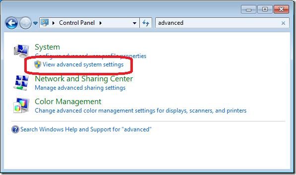 Вкладка View advanced system settings в win7