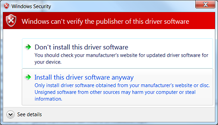 Windows can't verify the publisher of this driver software