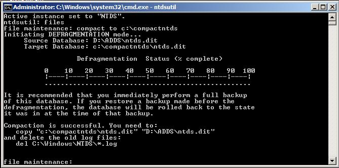 compress active directory - net  stop ntds