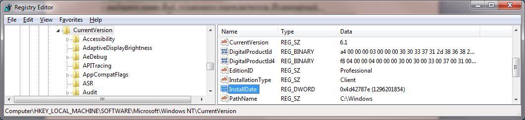 Как узнать когда установлена Windows через реестр