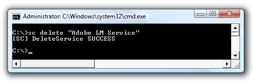 sc delete service windows 7