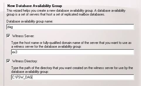 database availability group wizard
