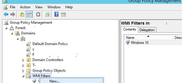 Создать WMI фильтр групповых политик