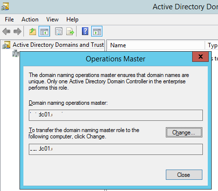 Active Directory Domains and Trusts - перенос FSMO роли Domain naming master