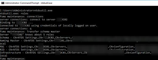 ntdsutil transfer schema master - перенос fsmo ролей из командной строки