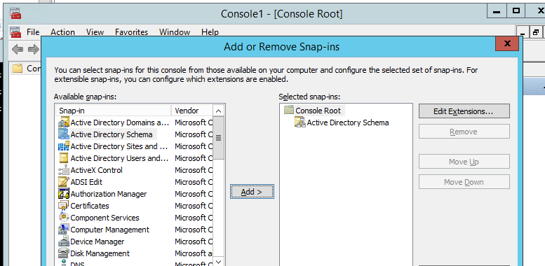 оснащення Active Directory Schema