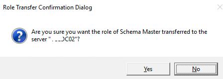 подтвердить передачу FSMO роли на другой контроллер домена