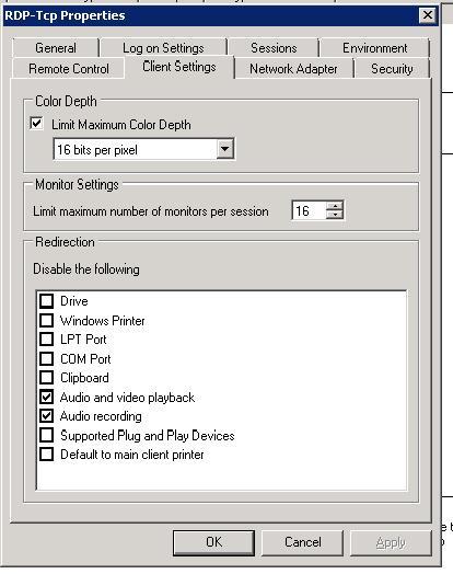 Буфер обмена в настройках сервера Remote Desktop