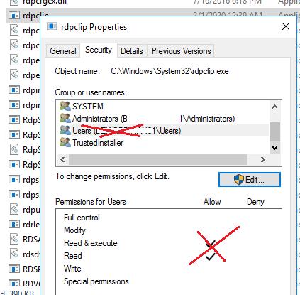 заборони на використання rdpclip.exe для не-адміністраторів