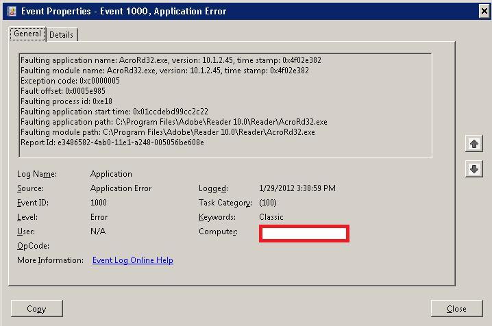 Ошибка с id 1000 при печати на сетевой принтер в adobe reader X 10