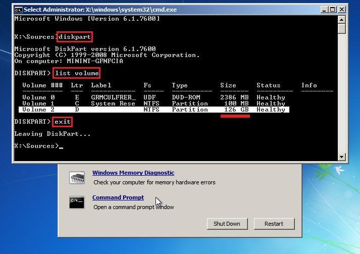 diskpart и winPE