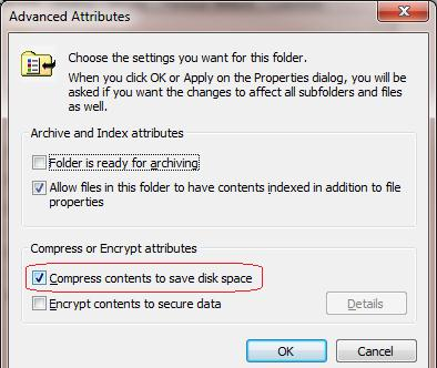 NTFS сжатие папки в Windows 7