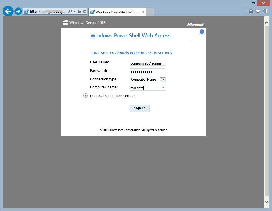 Окно авторизации PoSH Gateway в Windows Server 2012