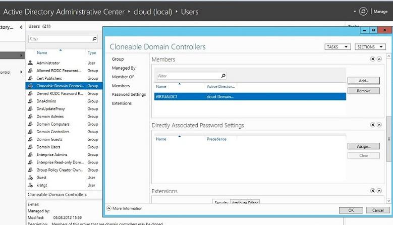 Добавляем dc в группу Cloneable Domain Controllers