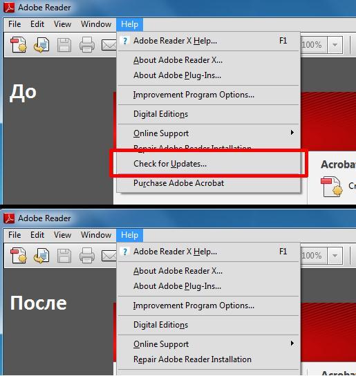 """Скрыть пунк """"проверить обновления"""" в adobe reader x"""