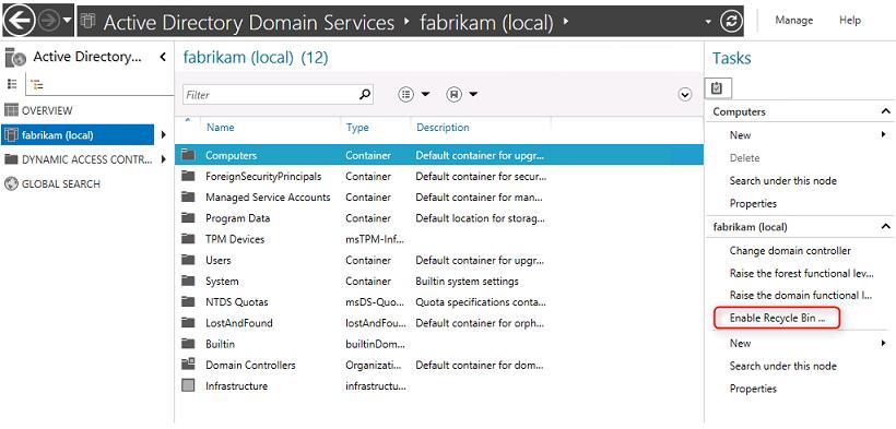 Включить корзину AD в Windows Server 2012