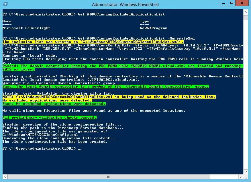 Задаем параметры нового контроллера домена
