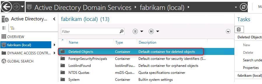 OU Deleted Objects в Windows 2012