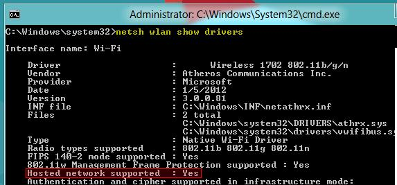 Поддержка wi-fi hot spot в windows 8
