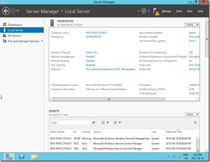 Параметры сервера в windows server 2012