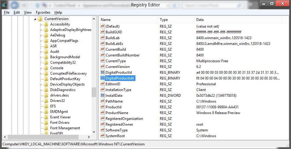 Ключ Windows 8 хранится в реестре