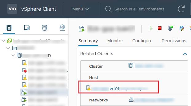 vsphere client знайти хост, на якому запущена ВМ