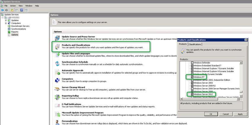 Отмечаем на WSUS новые продукты:windows server 2012, windows 8, windows rt