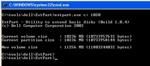 Расщиряем системный диск утилитой extpart