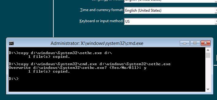 Замена файла sethc в windows 8