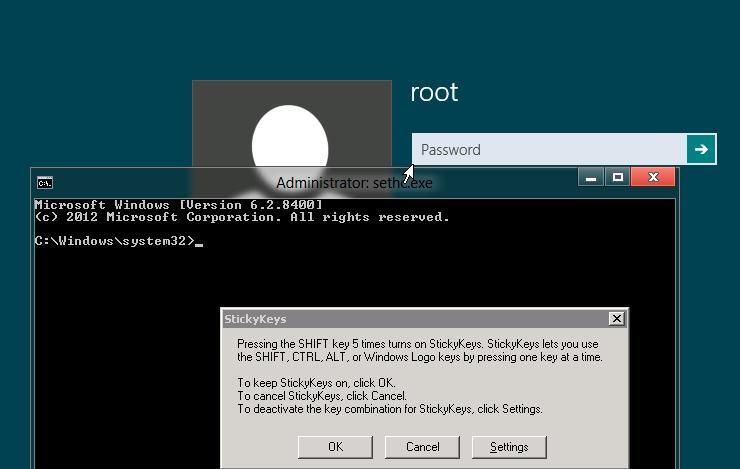 Запуск командной сторки на экране входа в windows 8