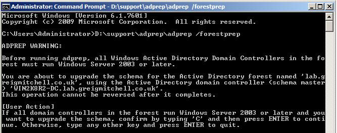 adprep - обновляем схемы домена до windows 2012
