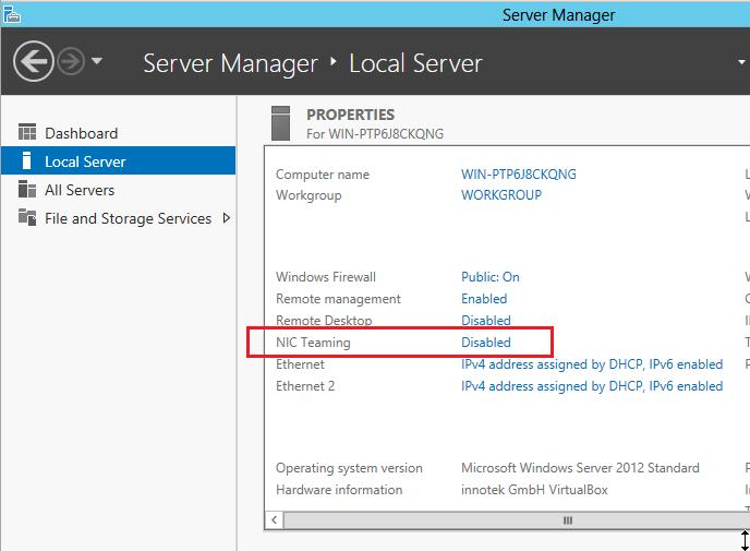 Включаем NIC Teaming Windows Server 2012