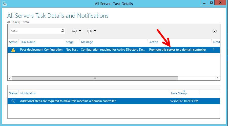 Установка контролера домену на Windows Server 2012