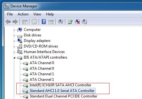 windws 8 ahci контроллер для SSD диска