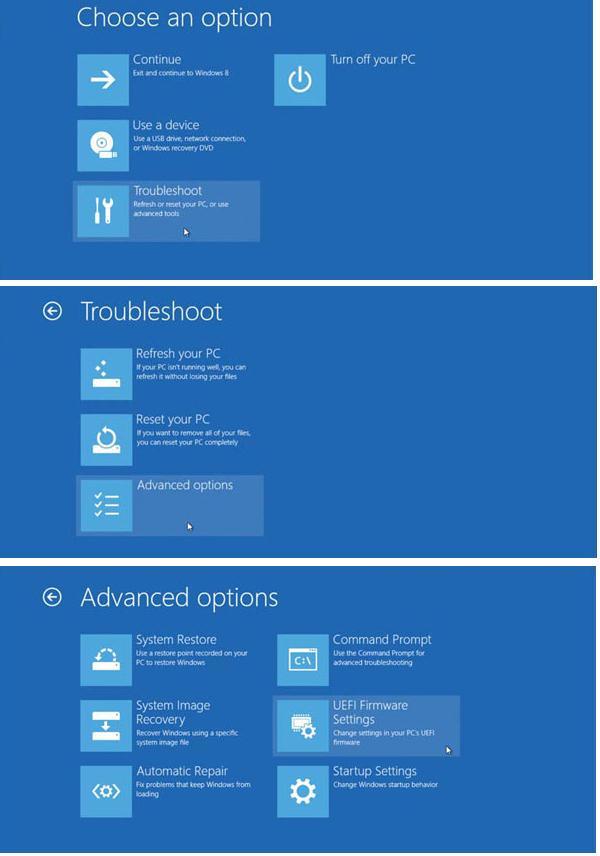 Войти в режим настройки UEFI (BIOS) в Windows 8