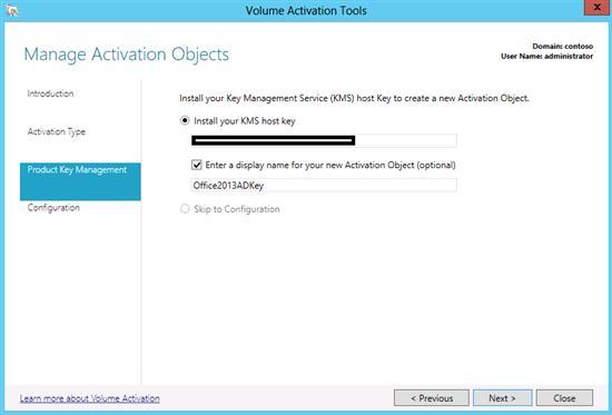 Указываем kms ключ сервера office 2013