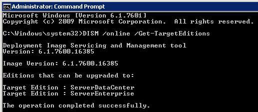 Отримати список версій windows server 2008 r2, до яких можна оновитися