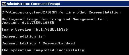 dism дізнатися поточну версію windows server 2008 r2