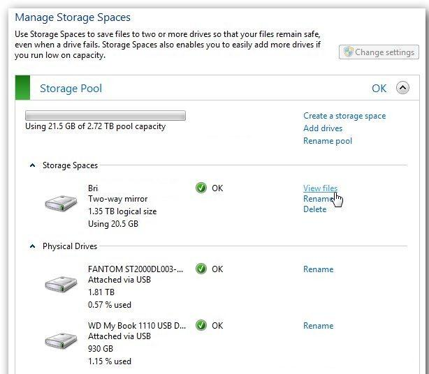 Управление storage spaces в Windows 8