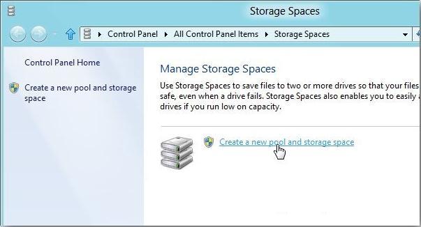 Создать новый storage pool win 8